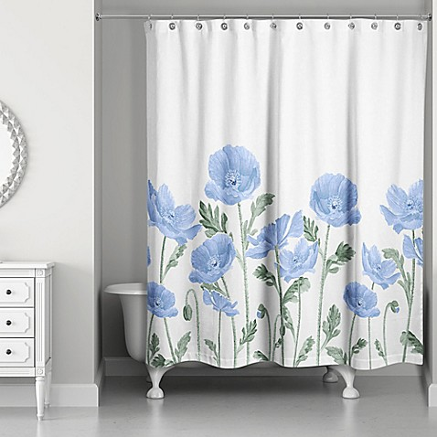 Designs Direct Wildflower Field Shower Curtain In Blue