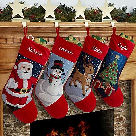 winter charm needlepoint christmas stocking collection - Personalized Needlepoint Christmas Stockings
