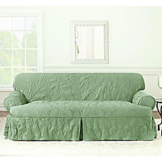 Sure Fit Matele Damask T Sofa Cover In Sage