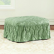 image of Sure Fit® Matelasse Damask Ottoman Cover in Sage