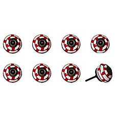 image of Knob-It Vintage Hand Painted 8-Pack Ceramic Round Knob Set in Red/Navy