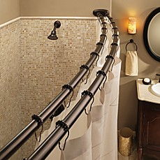 image of moen old world bronze double curved shower rod
