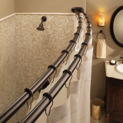 Attractive Moenu0026reg; Old World Bronze Double Curved Shower Rod