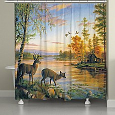 image of Laural Home Deer on Sunset Lake Shower Curtain