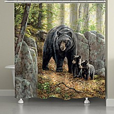 image of Laural Home Black Bear With Cubs Shower Curtain
