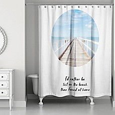 Image Of Designs Direct Lost On The Beach Shower Curtain In Blue