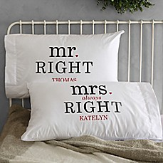 image of Mr. and Mrs. Right Pillowcases (Set of 2)