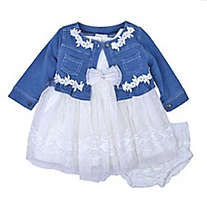 image of Nannette Baby® 3-Piece Denim Cardigan, Lace Dress and Diaper Cover Set in White