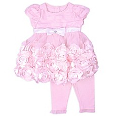 image of Nanette Baby® 2-Piece Rose Dress and Legging Set in Pink