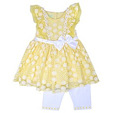 image of Nannette Baby® 2-Piece Lace Daisy Dress and Legging Set in Yellow