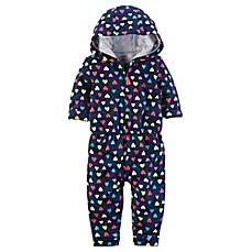 image of carters® Heart Print Hooded Romper in Navy