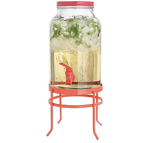 buy glass coral beverage dispenser with metal stand from bed bath beyond. Black Bedroom Furniture Sets. Home Design Ideas