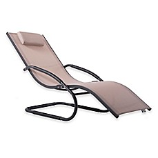 image of Vivere Wave All-Weather Single Lounger in Brown/Charcoal
