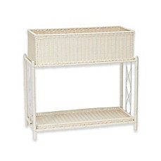 image of Household Essentials® Resin Wicker Plant Stand with Tray in White