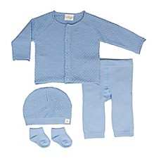 image of Cuddl Duds® 5-Piece Take Me Home Cardigan, Pant, Hat, and Sock Set in Blue