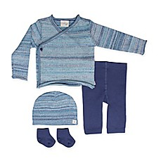 image of Cuddl Duds® 5-Piece Take Me Home Kimono Cardigan, Pant, Hat, and Sock Set in Blue