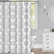 Malaka 72 Inch X Medallion Fabric Shower Curtain In Grey