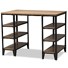 image of baxton studio pepe rustic metal and wood storage desk in blackbrown