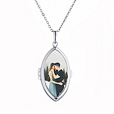 image of With You Lockets Sterling Silver 18-Inch Chain Glass Dixie Photo Locket Necklace