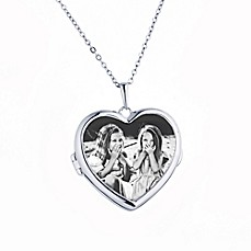 image of With You Lockets Sterling Silver 18-Inch Chain Glass Nina Photo Locket Necklace