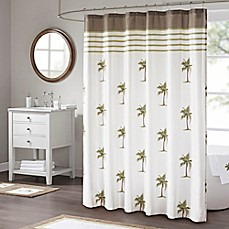 image of Madison Park Palm Shower Curtain in Green