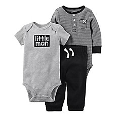 image of carter's® 3-Piece Little Man Bodysuit and Pant Set in Black