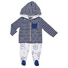 image of Boppy® 2-Piece Stripe Hooded Cardigan and Pant Set in Blue