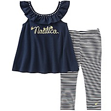 image of Nautica Kids® 2-Piece Logo Top and Stretch Stripe Legging Set
