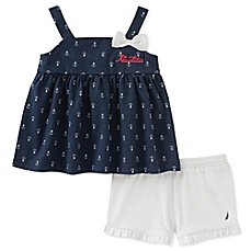 image of Nautica Kids® 2-Piece Anchor Print Top and Short Set in Navy/White