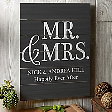image of Mr. & Mrs. 16-Inch x 20-Inch Wooden Slat Sign