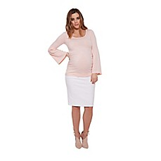 image of Stowaway Collection Bell Sleeve Maternity Top in Pink