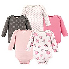 Image Of Hudson BabyR 5 Pack Floral Long Sleeve Bodysuits In Pink