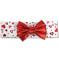 image of Tiny Treasures Valentine Hearts and Bow Head Wrap in Red