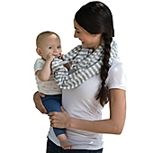 image of Boppy® Teething Scarf in Grey/White Stripes
