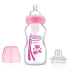 image of Dr. Brown's 9 oz. Wide-Neck Bottle with Sippy Spout in Pink