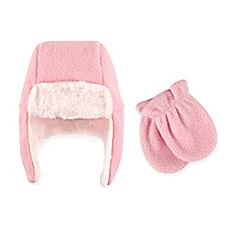 image of Hudson Baby 2-Piece Trapper Hat and Mitten Set in Light Pink