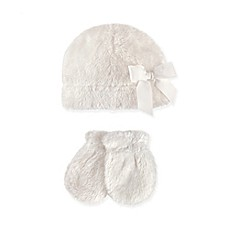 image of Hudson Baby 2-Piece Sherpa Bow Hat and Mitten Set in Washed White