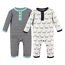 image of Hudson Baby® 2-Pack Whales Union Suits