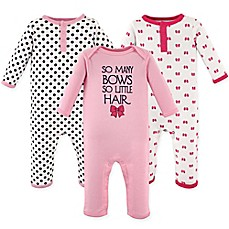 image of Hudson Baby® 3-Pack Bows Union Suits