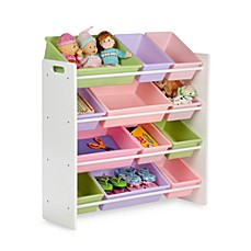 image of honey can do kids toy organizer and storage bins in pastel baby playroom furniture