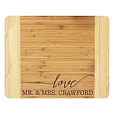 image of Stamp Out Mr. and Mrs. 11-Inch x 14-Inch Bamboo Cutting Board