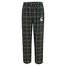 image of Michigan State University Men's Flannel Plaid Pajama Pant with Left Leg Team Logo