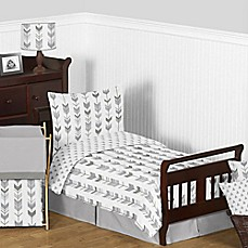 image of Sweet Jojo Designs Mod Arrow 5-Piece Toddler Bedding Set in Grey/White