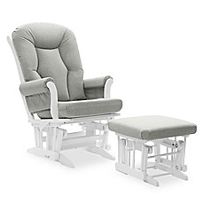 image of Dutailier® Victoria Reclining Glider and Ottoman in Grey/White