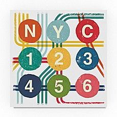 image of Trademark Fine Art New York City Life Subway 24-Inch Square Canvas Wall Art