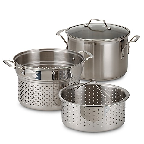 calphalon stainless steel 8 qt multipot 4piece set bed bath u0026 beyond