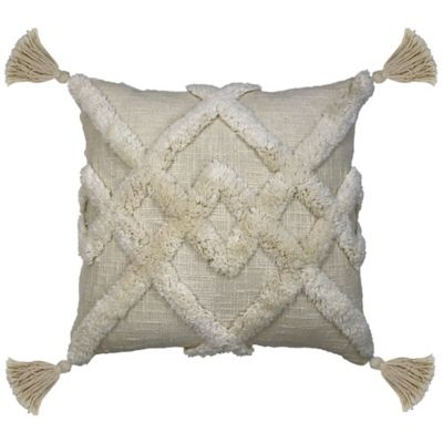 image of Duplex Tufted Square Indoor Throw Pillow in Cream