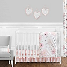 image of Sweet Jojo Designs Watercolor Floral Crib Bedding Collection in Pink/Grey