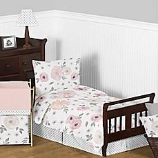 Sweet Jojo Designs Watercolor Floral 5 Piece Toddler Bedding Set In  Pink/Grey