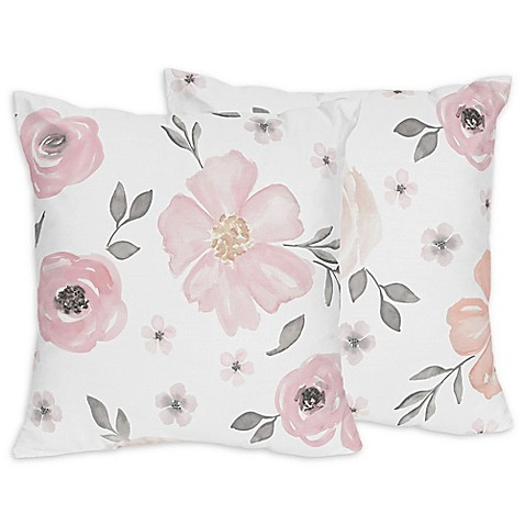 Sweet Jojo Designs Watercolor Floral Throw Pillows In Pink